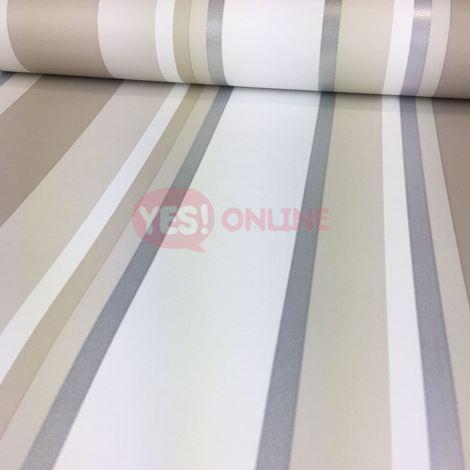 DISCONTINUED Stripe Wallpaper Striped Stripey Metallic Shiny Silver Orla Neutral Colours