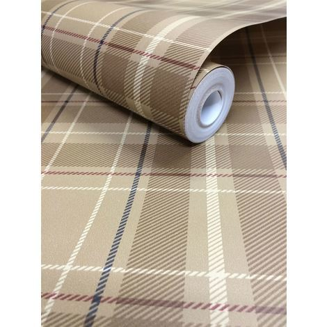 DISCONTINUED Tartan Check Plaid Wallpaper Paste The Wall Oxford Exclusive Wallcoverings