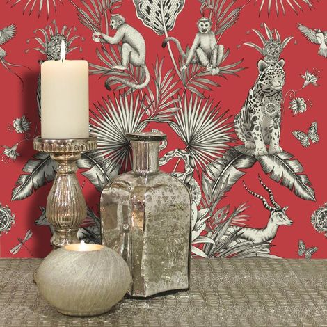 DISCONTINUED (WL-2003) Menagerie Red Wallpaper