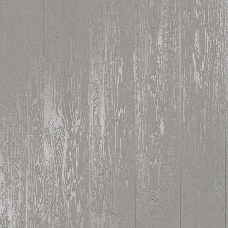 Discontinued Wood Effect Wallpaper Distressed Wooden Grain Loft Wood Grey Metallic Silver