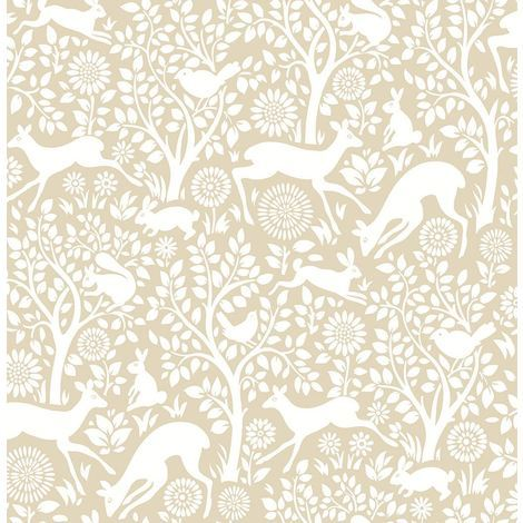 DISCONTINUED Woodland Meadow Wallpaper A Street Prints Non Woven Beige White Fine Decor