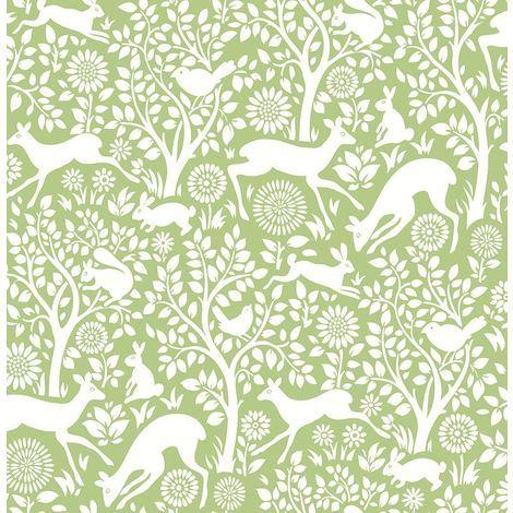 DISCONTINUED Woodland Meadow Wallpaper A Street Prints Non Woven Green White Fine Decor