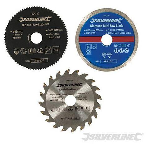 Discos de corte para mini sierra circular. 3 pzas (ø85 mm. agujero ø15 mm)