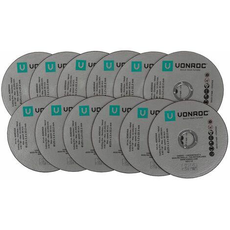 Discos de corte universales de VONROC - de metal / acero inoxidable - juego de 12 piezas - Ø 125 x 1,2 x 22,2 mm