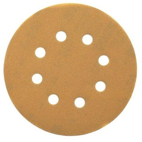 Discos de lija de 125mm y grano 180, con velcro de acoplamiento rápido y 8 orificos perforados DEWALT