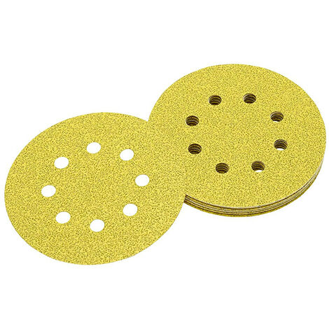 Discos de lija de 125mm y grano 40, con velcro de acoplamiento rápido y 8 orificos perforados DEWALT