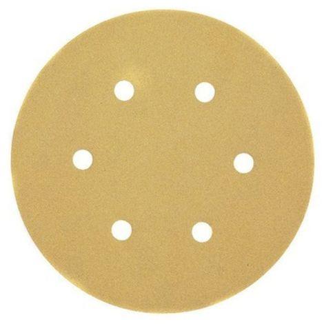 Discos de lija de 150mm y grano 180, con velcro de acoplamiento rápido y 6 orificos perforados DEWALT