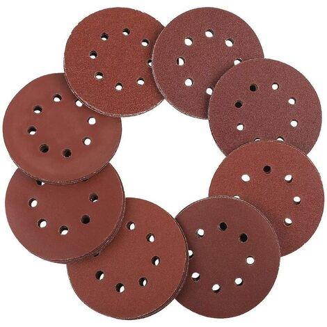 Discos de lija LITZEE 125 mm Cierre de velcro - 100 piezas de papel de lija para lijadoras excéntricas 8 agujeros de 20 x 60/80/100/120/240 papel redondo excéntrico granuloso 125 mm