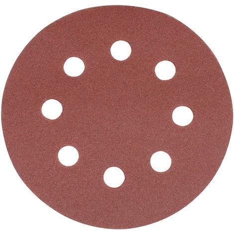 100 unidades, 125 mm de di/ámetro, redondos, grano P80, lijado exc/éntrico, adherente Discos de lija para lijadora