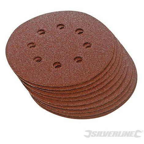 Discos de lija perforados autoadherentes 125 mm, 10 pzas, Grano 60, 125 mm