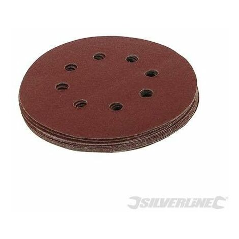 Discos de lija perforados autoadherentes 125 mm, 10 pzas, Grano 80, 125 mm
