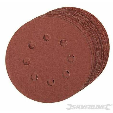 Discos de lija perforados autoadherentes 125 mm, 10 pzas, Granos: 4 x 60, 2 x 80, 120, 240 - 125 mm