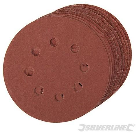 Discos de lija perforados autoadherentes 125 mm. 10 pzas (Granos: 4 x 60. 2 x 80. 120. 240 - 125 mm)