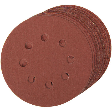 Discos de lija perforados autoadherentes 125 mm, 10 pzas Granos: 4 x 60, 2 x 80, 120, 240 - 125 mm - NEOFERR..