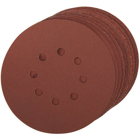Discos de lija perforados autoadherentes 150 mm 10 piezas-Grano 40 150 mm
