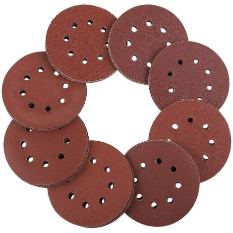 Discos de lijar 125 mm Velcro - 100 piezas de papel de lija para lijadora excéntrica 8 agujeros cada uno 20 x 60/80/100/120/240 grano papel excéntrico redondo 125 mm