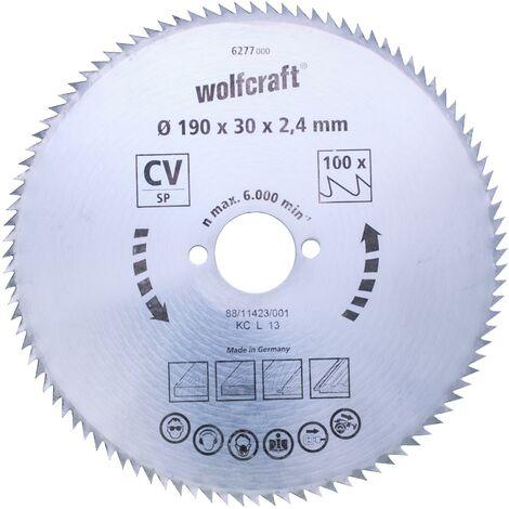 Discos de sierra circular cortes finos Wolfcraft 190 x 16 mm 100 dientes