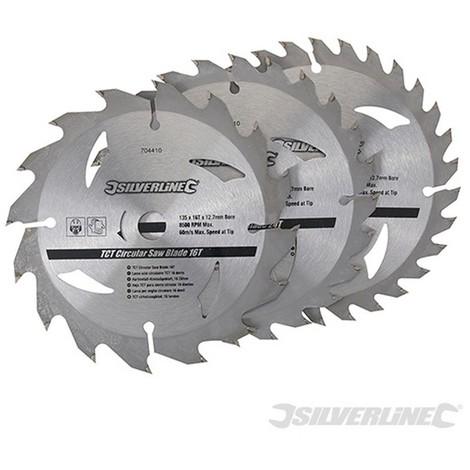 Discos de TCT para sierra circular 16. 24. 30 dientes. 3 pzas (135 x 12.7 - anillo de 10 mm)