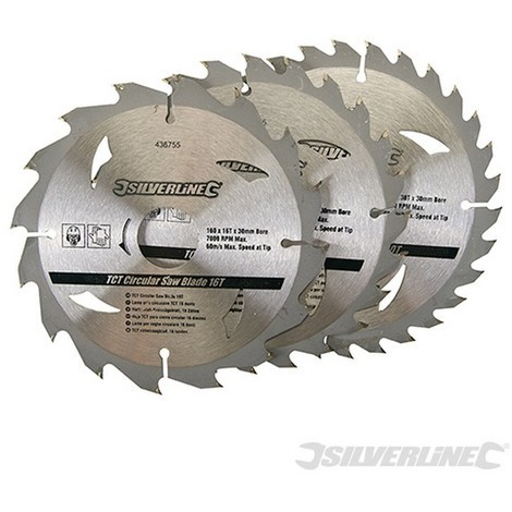 Discos de TCT para sierra circular 16. 24. 30 dientes. 3 pzas (160 x 30 - anillos de 20. 16 y 10 mm)