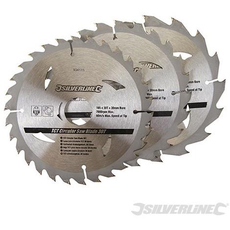 Discos de TCT para sierra circular 16. 24. 30 dientes. 3 pzas (165 x 30 - anillo de 20. 16 y 10 mm)