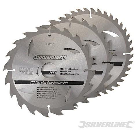 Discos de TCT para sierra circular 20. 24. 40 dientes. 3 pzas (180 x 30 - anillos de 20 y 16 mm)