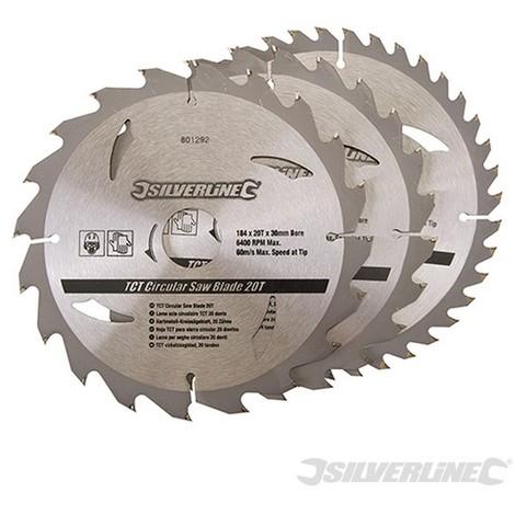 Discos de TCT para sierra circular 20. 24. 40 dientes. 3 pzas (184 x 30 - anillos de 20 y 16 mm)