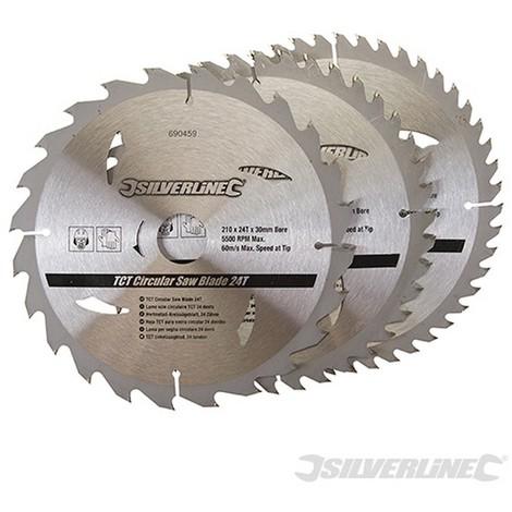 Discos de TCT para sierra circular 24. 40. 48 dientes. 3 pzas (210 x 30 - anillos de 25 y 16 mm)