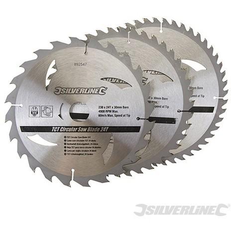 Discos de TCT para sierra circular 24. 40. 48 dientes. 3 pzas (230 x 30 - anillos de 25. 20 y 16 mm)