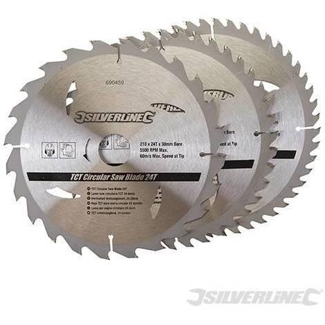 Discos de TCT para sierra circular 24, 40, 48 dientes, 3 pzas