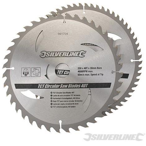 Discos de TCT para sierra circular 40 y 60 dientes. 2 pzas (250 x 30 - anillos de 25. 20 y 16 mm)