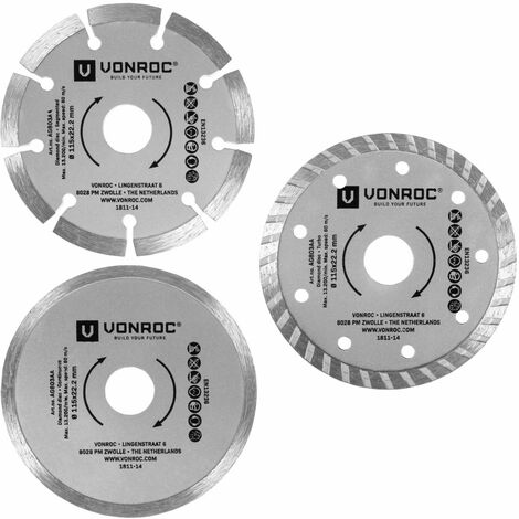 Discos diamantados de VONROC - universales, 115mm - 3 piezas - piedra, hormigón y cerámica