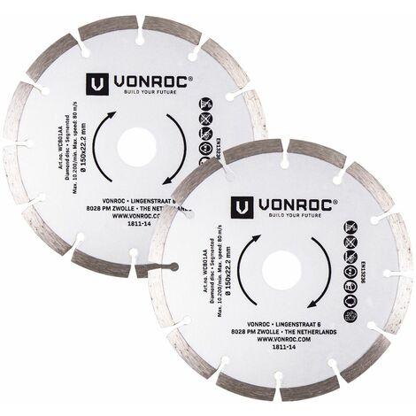 Discos diamantados para rozadora VONROC - Universales, 150mm - 2 piezas - ladrillos y materiales duros