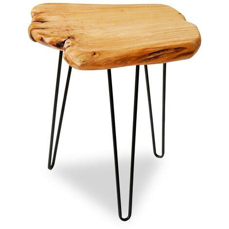 """main image of """"Diseño Mesa de café industrial en madera de cedro y hierro forjado con bordes"""""""