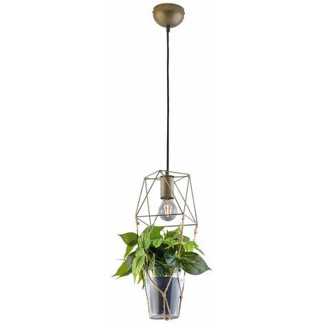 Diseño lámpara colgante jaula péndulo lámpara de techo flores maceta sisal iluminación para sala de estar