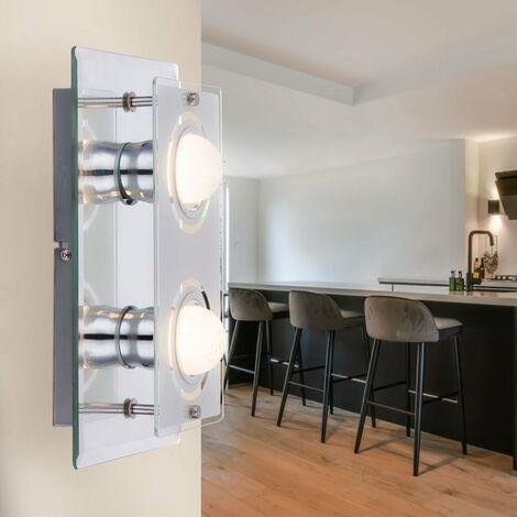 Diseño LED Luz de pared Espejo Proyector Vidrio Satinado Cromo Lámpara Baño Iluminación Globo 48971-2