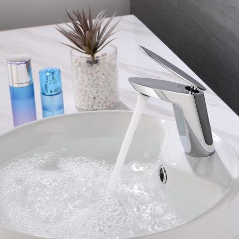 Diseño Único Grifo Lavabo, Monomando Grifo de Cuenca de Baño con Agua Suave Aireador Desmontable, Forma de Hoja, Latón Cromado
