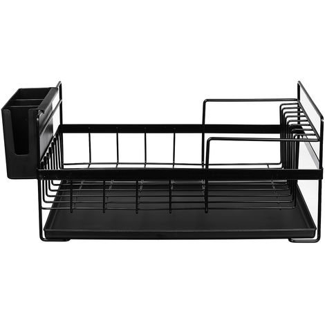 Dish Drainer Kitchen Shelf Storage Organizer Cups Multifunction Glasses Black Hasaki