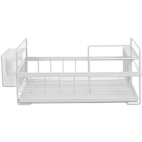 Dish Drainer Kitchen Shelf Storage Organizer Cups Multifunction Glasses White