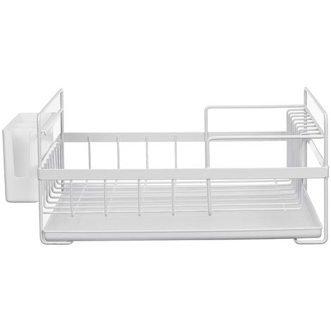Dish Drainer Kitchen Shelf Storage Organizer Cups Multifunction Glasses White