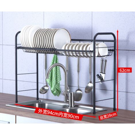Dish Drainer Over Sink, Stainless Steel Dish Drainer with Utensil Holder Hooks Space Saver for Kitchen Supplies Countertop Storage Shelf (Single Layer / Double Layer)