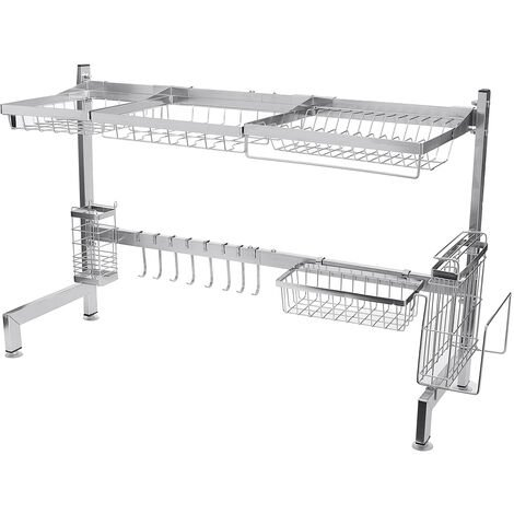 Dish Drainer Rack 92*28*54.5CM Tray Plate Storage Over Sink Kitchen Utensils Holder