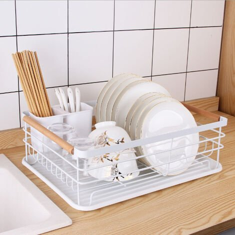 Dish Drainer Rack Kitchen Sink Washing Plates Draining Board Cutlery Holder Cup