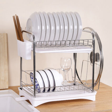 Dish Drainer Rack with Drip Tray Cutlery Holder Plate Rack Kitchen Sink