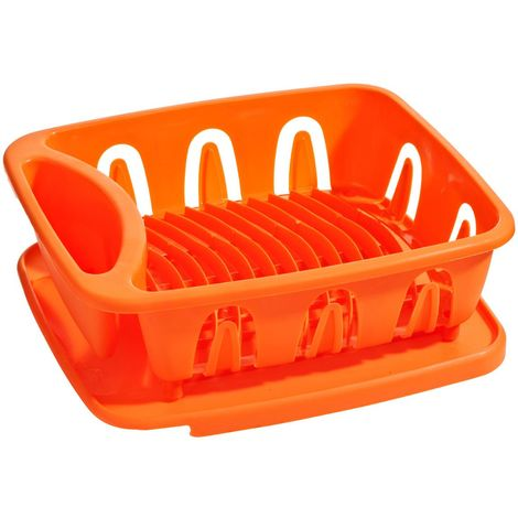 Dish Drainer,Orange Plastic,Removable Tray