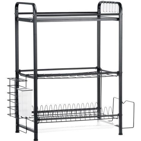 Dish Rack Over Sink Drainer Shelf 43X25X60.5cm Stainless steel 3 Tier black