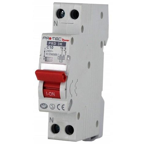 Disjoncteur 10A 1P+N courbe C 3kA norme NF raccordement vis (THOMSON) PROTEC PRD3KC10
