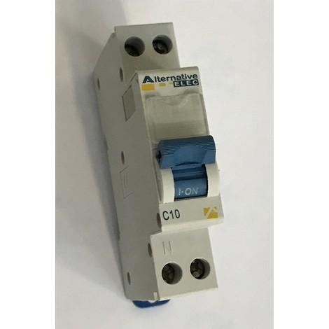 Disjoncteur 10A 1P+N courbe C 4.5KA bornes vis avec porte étiquette norme CE ALTERNATIVE ELEC AE12210