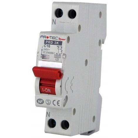 Disjoncteur 16A 1P+N courbe C 3kA norme NF raccordement vis (THOMSON) PROTEC PRD3KC16