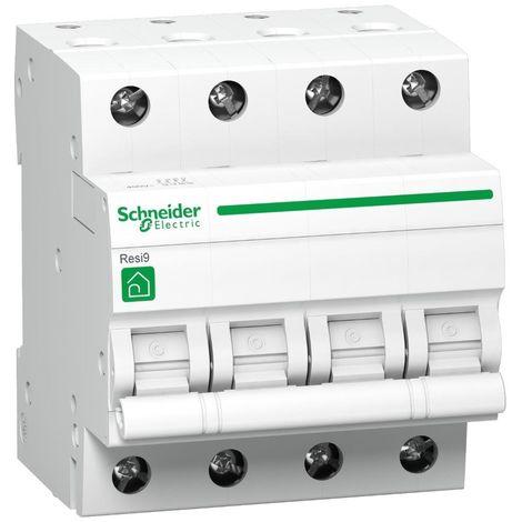 Disjoncteur 16A 4P courbe C 3kA 400V bornes vis RESI9 SCHNEIDER R9F64416