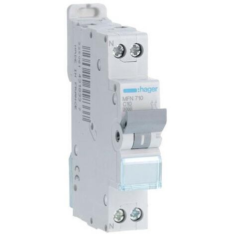 Disjoncteur 1P+N - 3kA C-10A - 1 Module - Hager